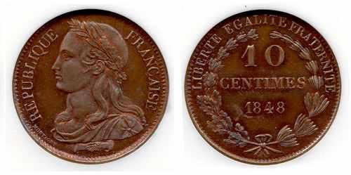 Пробная монета Франции 10 сантимов 1848 года