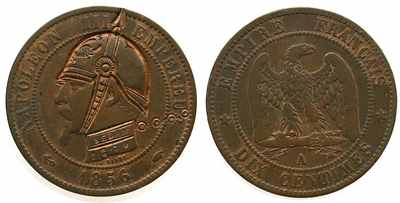 Подгравировка на 10 сантимов 1856 года