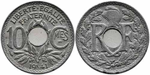 Французская монета 10 сантимов 1941 без точек с чертой
