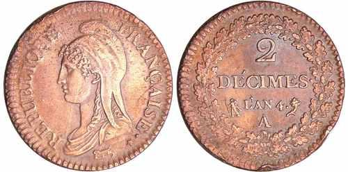Редкая французская монета 2 децима ан 4