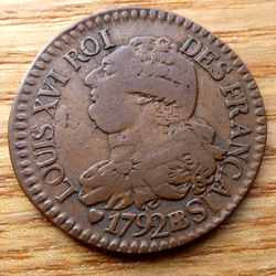 Французская монета 3 денье 1792