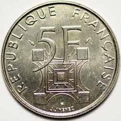 Аверс памятной монеты Франции 5 франков 1989 года