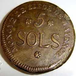 5 солей 1793 года реверс