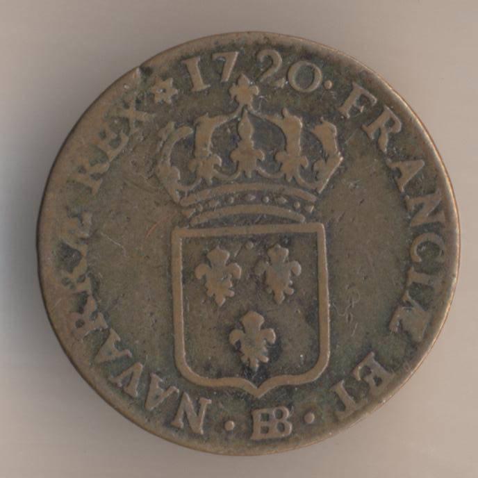 Французская медная монета 1/2 су 1720 реверс
