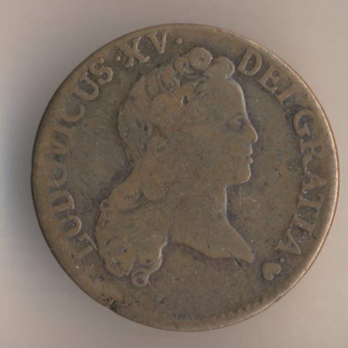 Французская медная монета 1/2 су 1720 аверс