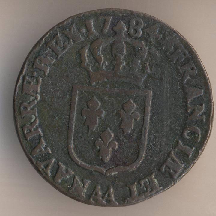 Французская медная монета 1 су 1784 реверс