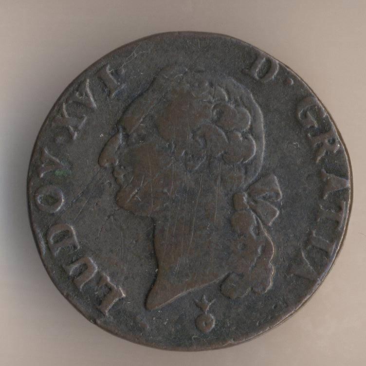 Французская медная монета 1 су 1784 аверс