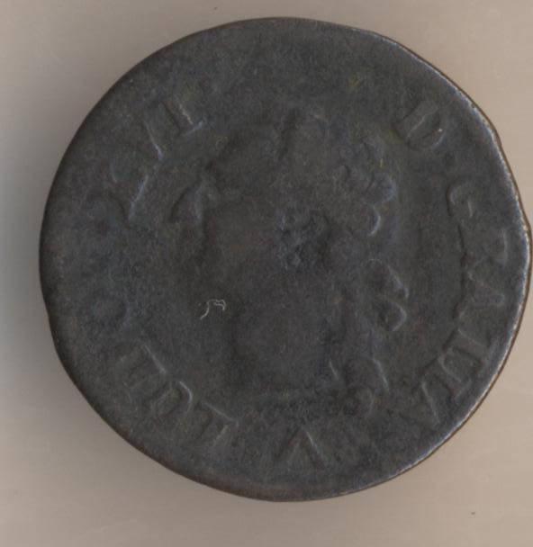 Французская медная монета лиар 1779 аверс