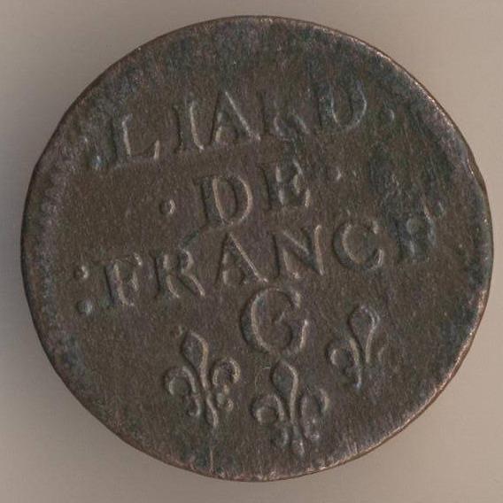 Французская медная монета лиар 1657 реверс