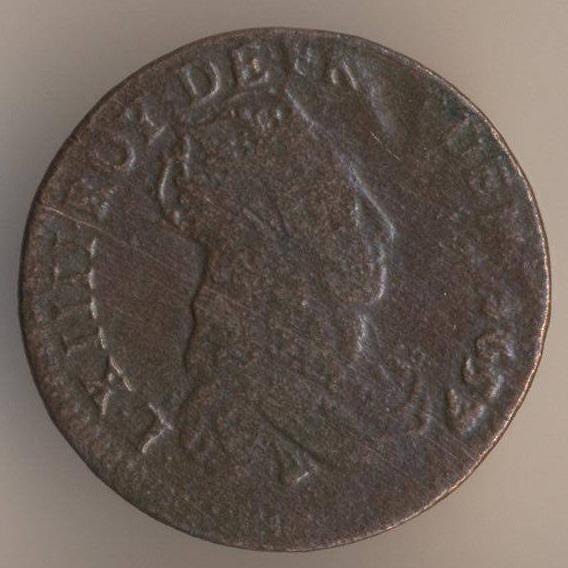 Французская медная монета лиар 1657 аверс