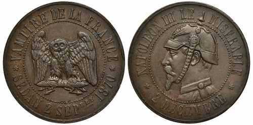 Сатирическая медаль Наполеон 3 1870 год