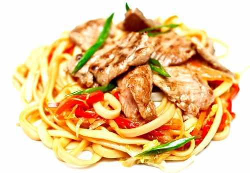 Лапша удон с мясом и овощами